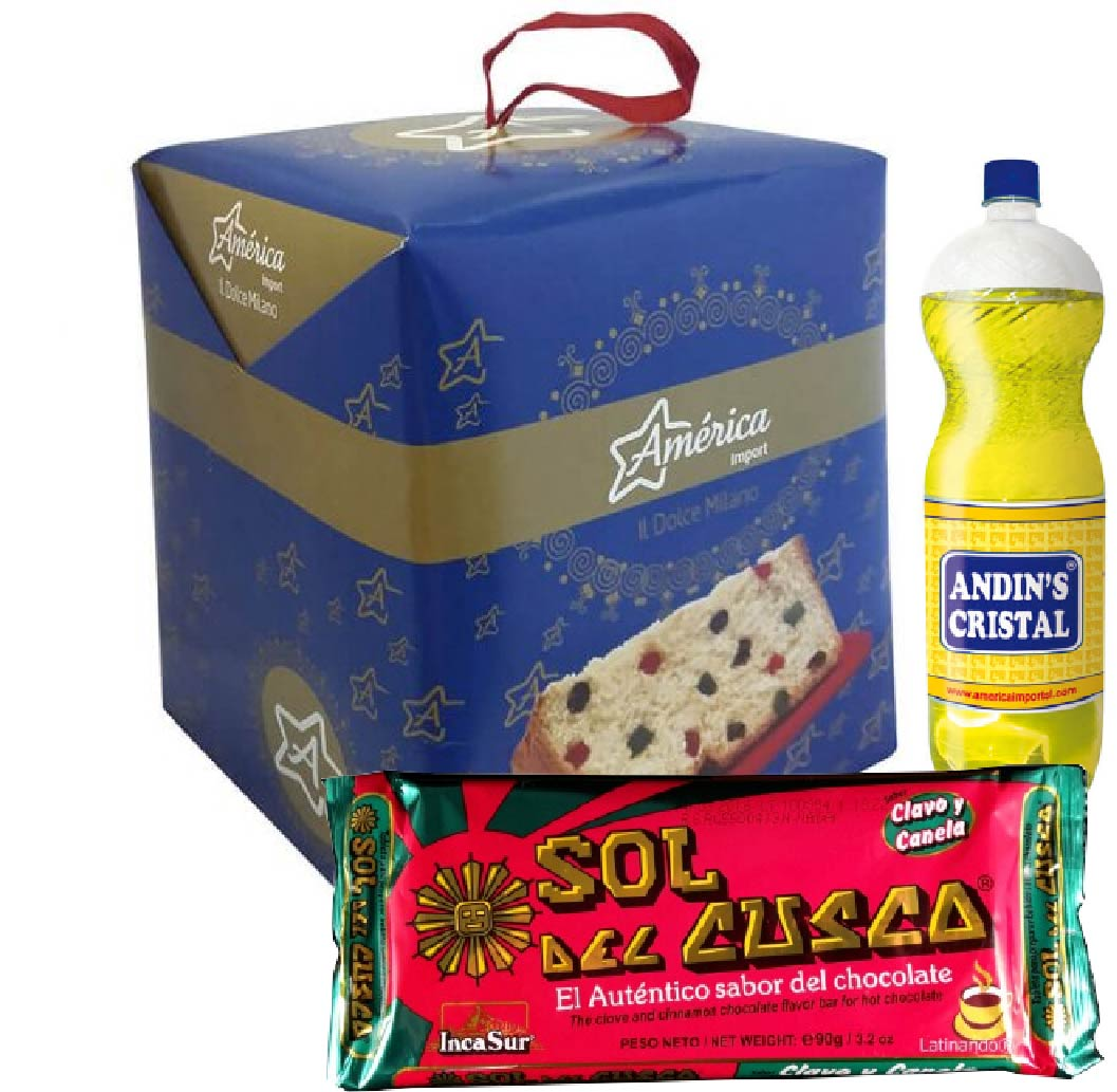 Pack Navidad 1: Panetón + Chocolate Sol del Cusco Canela Clavo + Andins Cristal 2L